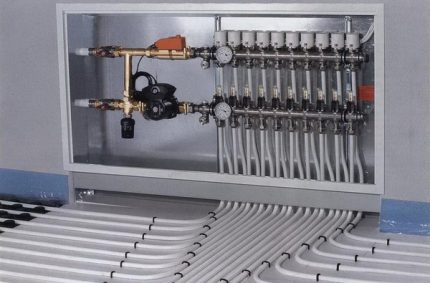 Cabinet for installing the underfloor heating manifold