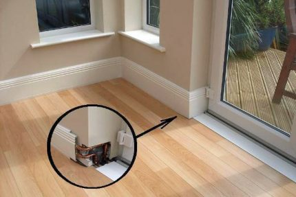 How does a water-based warm baseboard work?