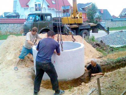 Installation of concrete workpieces
