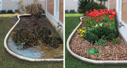 Before and after drainage