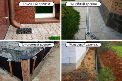 Types of site drainage