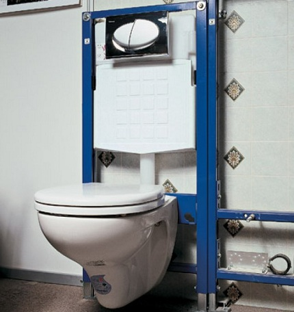 Installation of a wall mounted toilet