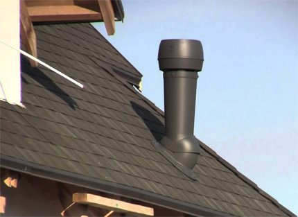 Vent riser over the roof of the house
