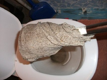 Cleaning the toilet with a rag