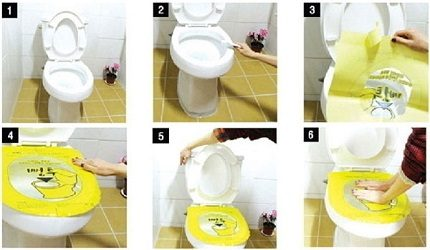 Stages of cleaning the toilet with foil
