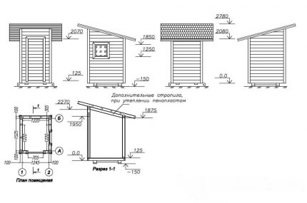 Drawing of the facades of the toilet