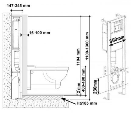 Scheme of the toilet with installation
