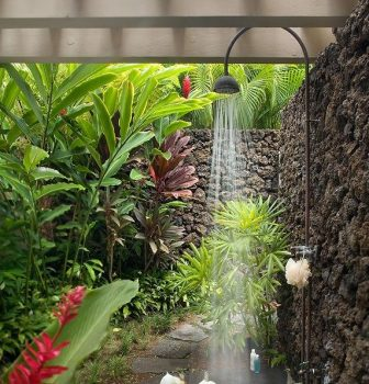 Shower under a canopy