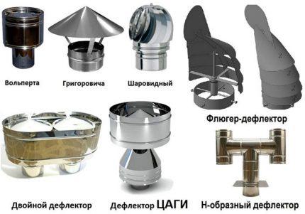 Types of deflectors