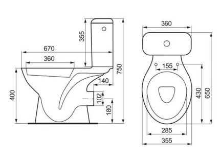 Scheme of the toilet with a horizontal pipe