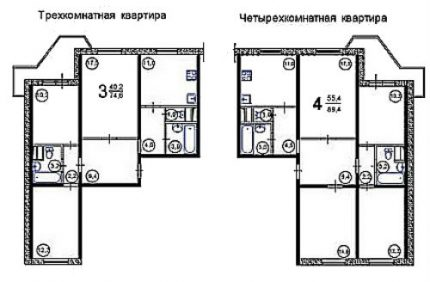 Layouts of bathrooms in large apartments