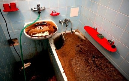 Completely clogged sewer