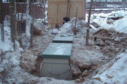 Septic tank in winter