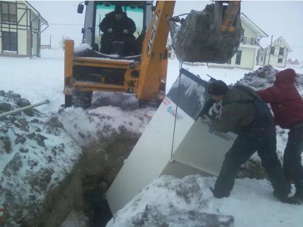 Installation of a septic tank in winter