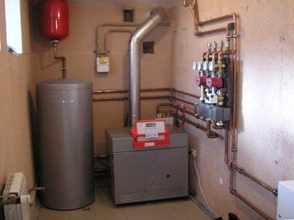 Boiler room for a gas boiler