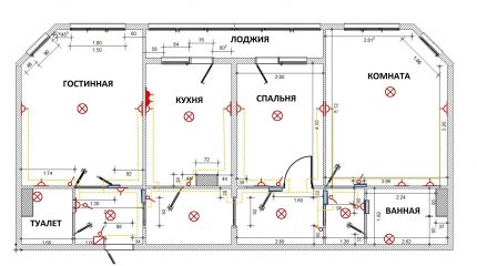 Wiring diagram in a three-room apartment