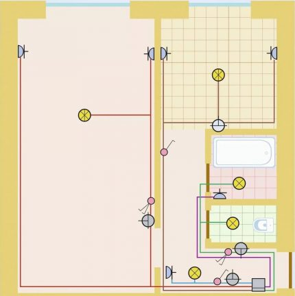Variant of the wiring diagram for a 1-room apartment
