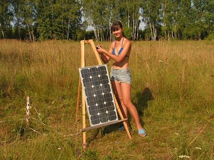 Home-made solar panel in the country