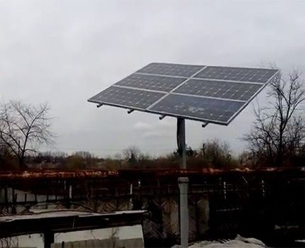 Solar battery in cloudy weather