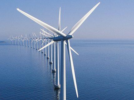 Wind farm in the sea