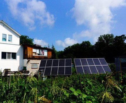 Solar panels in the yard