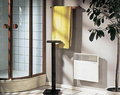 Hanging convector in the bathroom