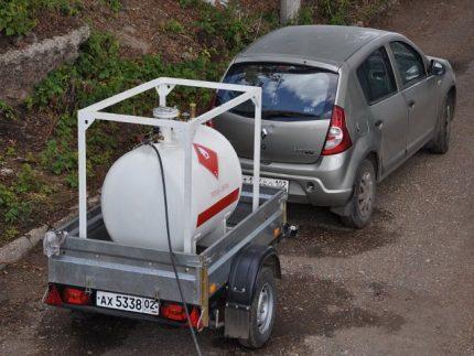 Enregistrement d'un réservoir d'essence mobile