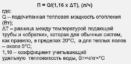 Formula for determining the performance of a circulation pump