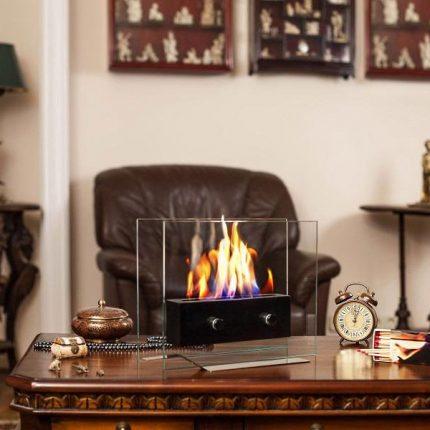 Desktop version of a bio-fireplace