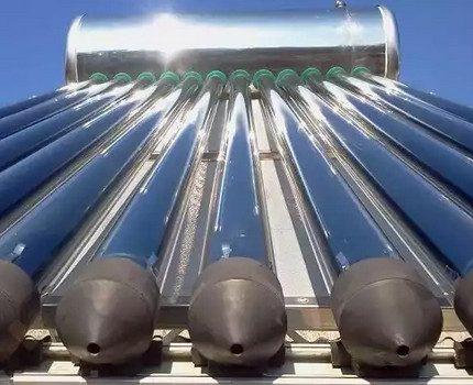Vacuum solar collector in operation