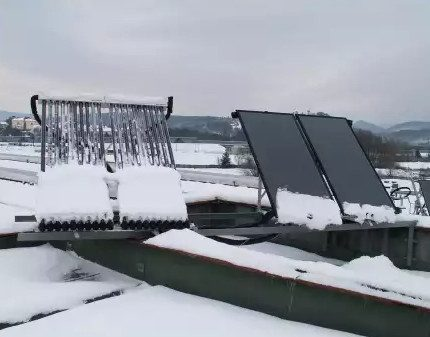 Vacuum collector under the snow