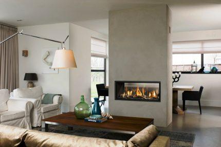 Fireplace in a decorative column