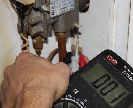 Diagnostics of gas boiler automation