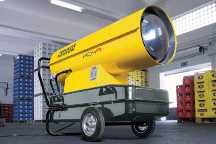 Diesel gun for heating the warehouse