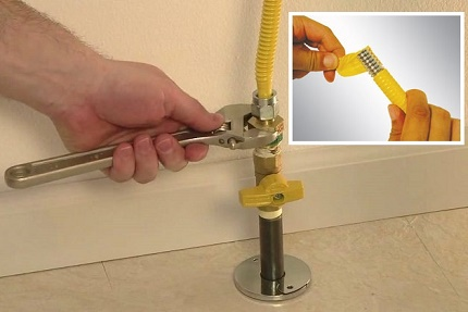 Utilisation d'un tuyau de gaz flexible