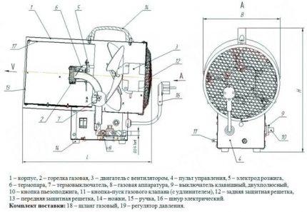 Detailed drawing of a gas gun