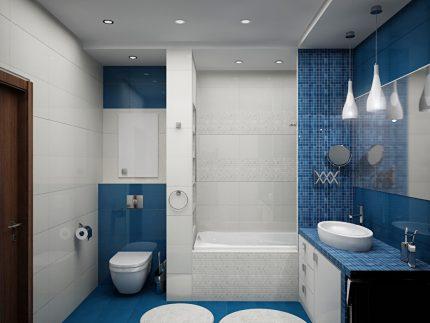 Éclairage différent dans la salle de bain combinée