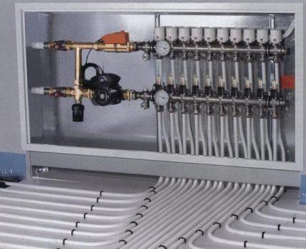 Heating pump with underfloor heating system