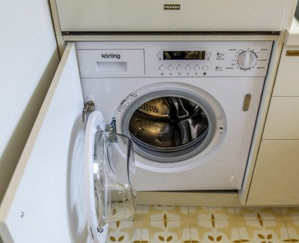 Built-in washing machine in the interior
