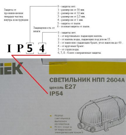 The degree of protection of the appliance