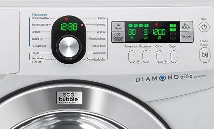 Washing machine display