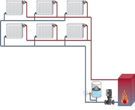 Two-pipe heating circuit
