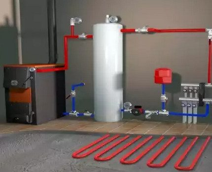 Double-circuit boiler connected to the underfloor heating system