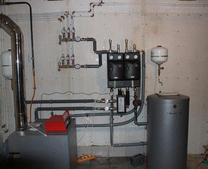 Double-circuit boiler in a home boiler room