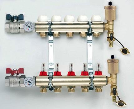 Manifold for underfloor heating