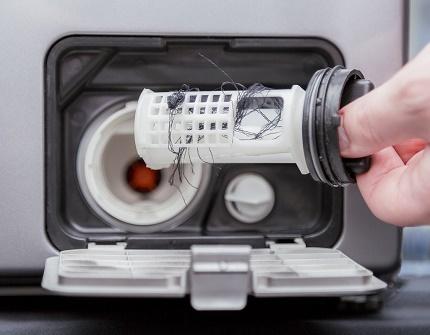 Drain pump filter clogging