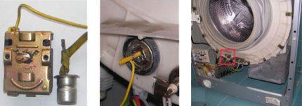 Temperature sensor in the machine