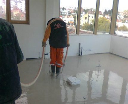 Filling anhydride screed