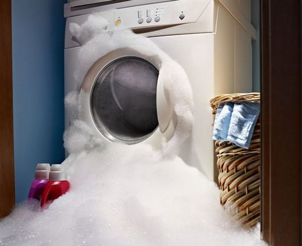 Foam came out of the washing machine