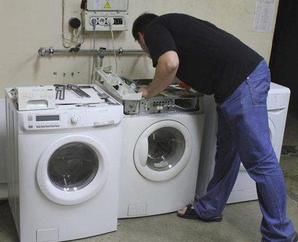 Master inspects washing machines